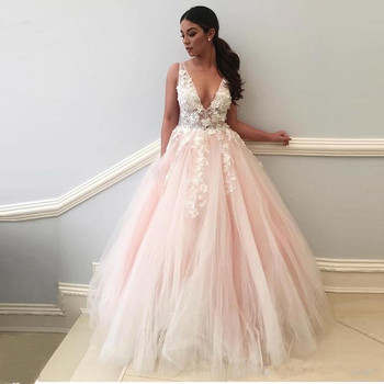 Blush Muslim Evening Dresses 2019 Ball Gown V-neck Tulle Lace Beaded Islamic Dubai Saudi Arabic Long Formal Evening Gown Prom