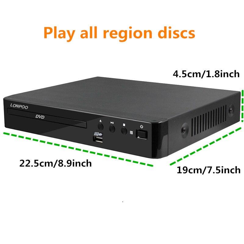 LONPOO Mini USB RCA HDMI reproductor de DVD región libre varios idiomas OSD DIVX DVD reproductor de CD RW reproductor de pantalla LED DVD MP3 - 2