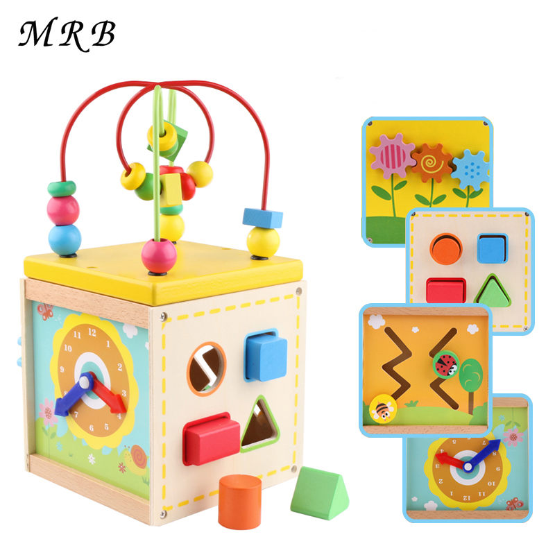 Kids Toys Wooden Toys Baby Learning Early Education Wooden Maze Multi-function Box Round Bead Montessori wooden bead maze math toy kids early educational montessori toy baby children bead rollercoaster round wire maze puzzle toy gift