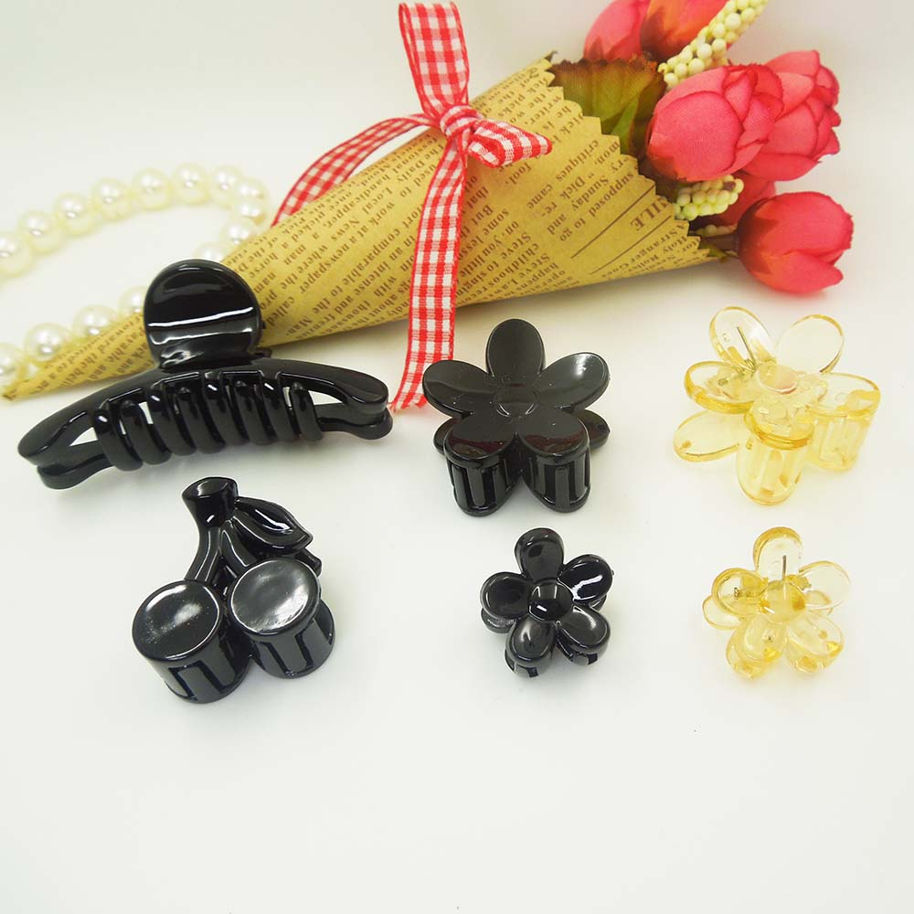 10pcs/lot High-quality Hair Clip Fashion Plastic Hair Claw Black Color Hair accessories for Women Simple Diy Hair Crab Clamp