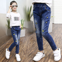 Spring Garment Girl Personality Tightness Waist Cartoon Embroidery Kids Pants Trousers