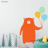 Cute Bear with Balloons Wall Sticker Woodland Animal Vinyl Wall Decal for Kids Room Bedroom Nursery Decor Wall Tattoo JM17 002 A