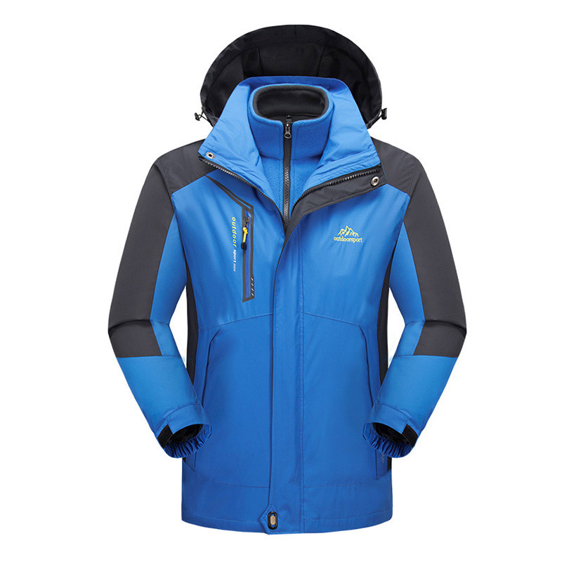 Outdoor Winter Men Women Waterproof Two-piece Removable Soft shell Fleece Jacket Outdoor 3 in 1 Windproof Breathable Coat Jacket