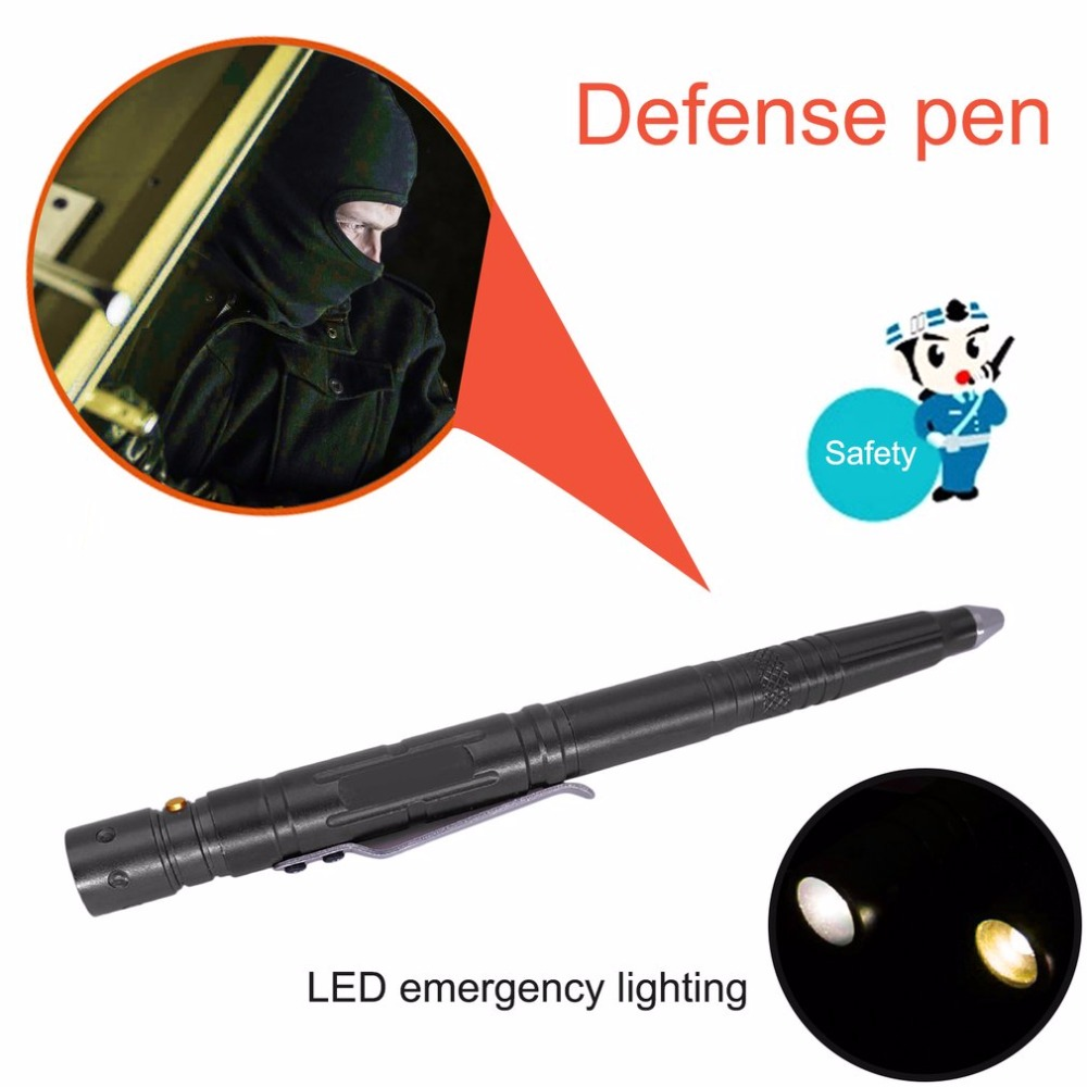 LESHP Multifunction Tactical Pen With Knife LED Light Aluminum Alloy Body Self Defense Guard Glass Broken Pen Outdoor Emergency