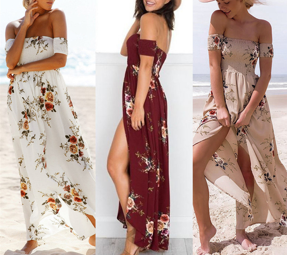 dressfan Girl Long Dress women Sexy Off shoulder Beach Dress Floral print Vintage chiffon