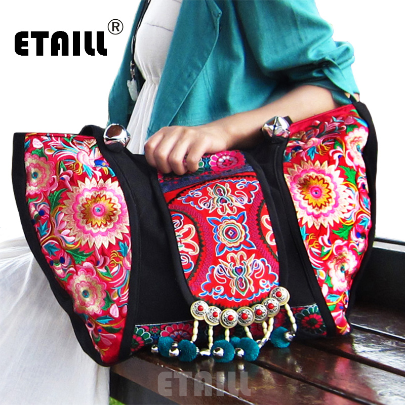 New National Trend Ethnic Flowers Floral Embroidery Embroidered Bags Ladies Women's Big Shoulder Bag Sac Femme Bordado Bolsa national trend women handmade faced flower embroidered canvas embroidery ethnic bags handbag wml99