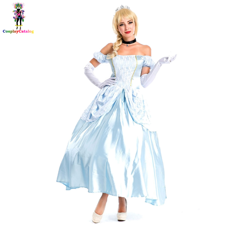 Classic Princess Luxurious Dress Halloween Cosplay Fairytale Adult Women Sexy Cinderella Costume Party Carnival Costumes