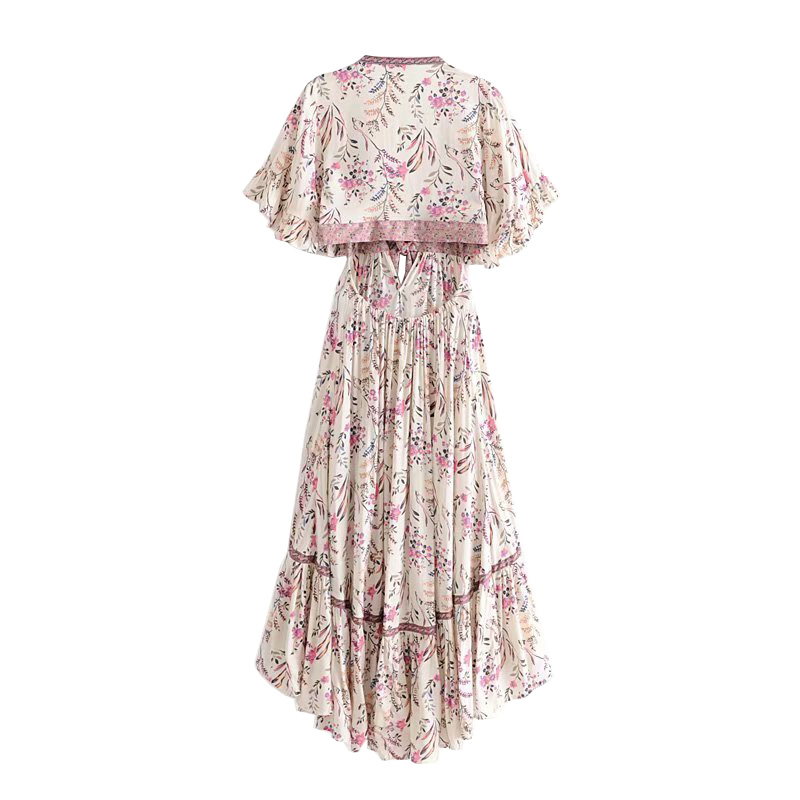 Elegant Floral Print Asymmetrical Backless Boho Beach Dress