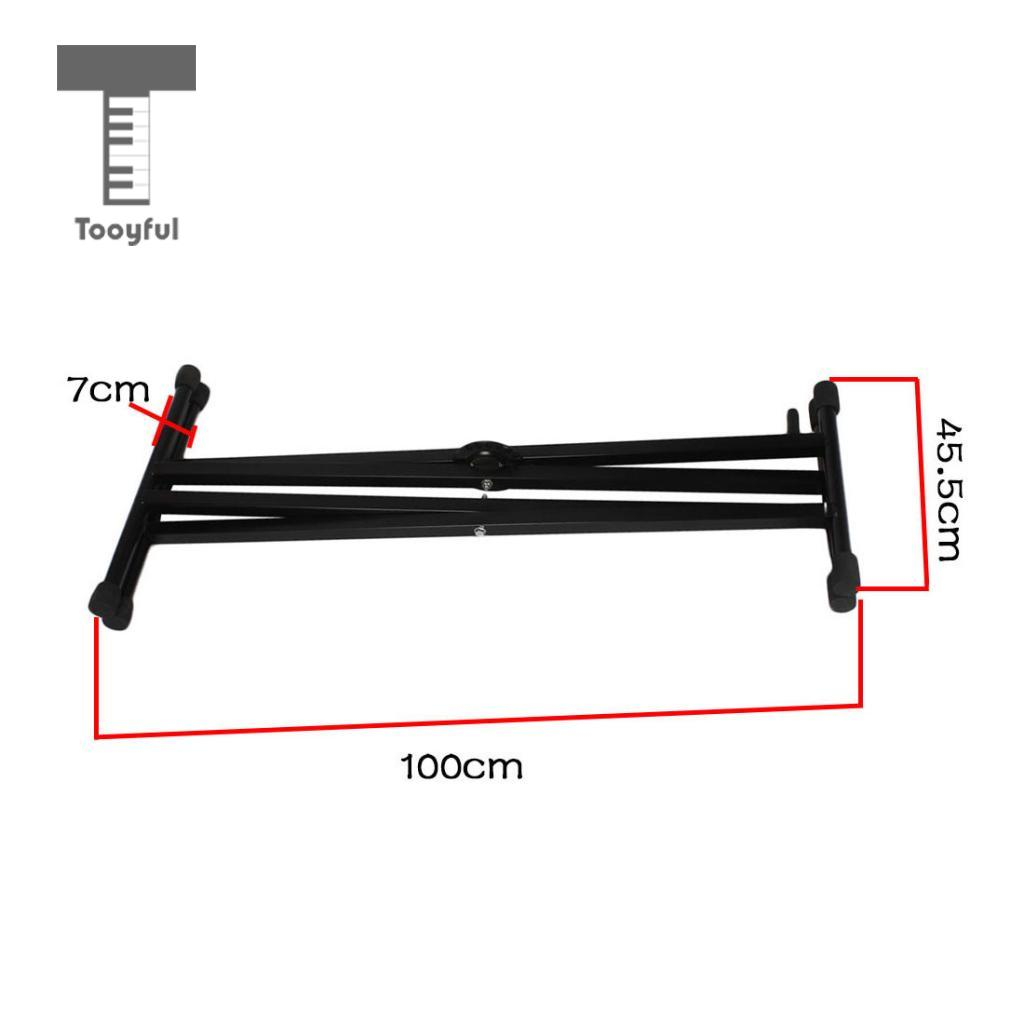 Tooyful Adjustable Double Braced X Style Keyboard Stand Electronic Piano Parts Diagram Organ Rack Musical Instrument