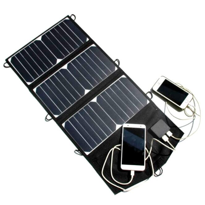 21W Foldable Portable Solar Panel Charger Dual Output for Mobile Phone iPhone High Efficiency Solar Power Bank for Camping 5500mah solar charger 5v 0 8w beetle shaped phone mobile power bank