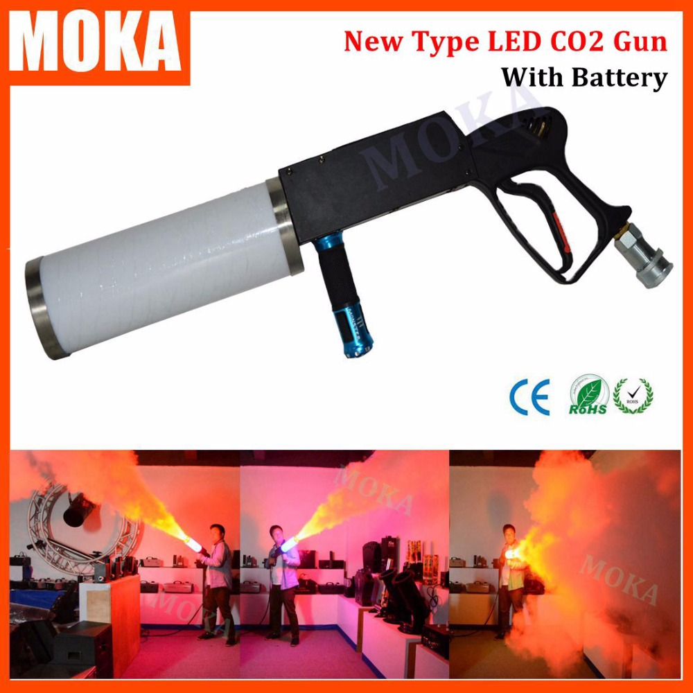 New type handhold LED CO2 DJ Gun with battery Led CO2 Jet Machine co2 pistol gun for Disco Club  KTV Pub Party KTV Stage effect 2016 new co2 jet machine moka mini co2 pistol handhold co2 gun fx stage effect machine for dj club with 3m hose