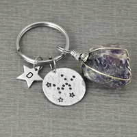 Custom Taurus Jewelry, Personalized Taurus Key Chain, Key Rings Zodiac Constellation KeyChain,Hammered Constellation Jewelry