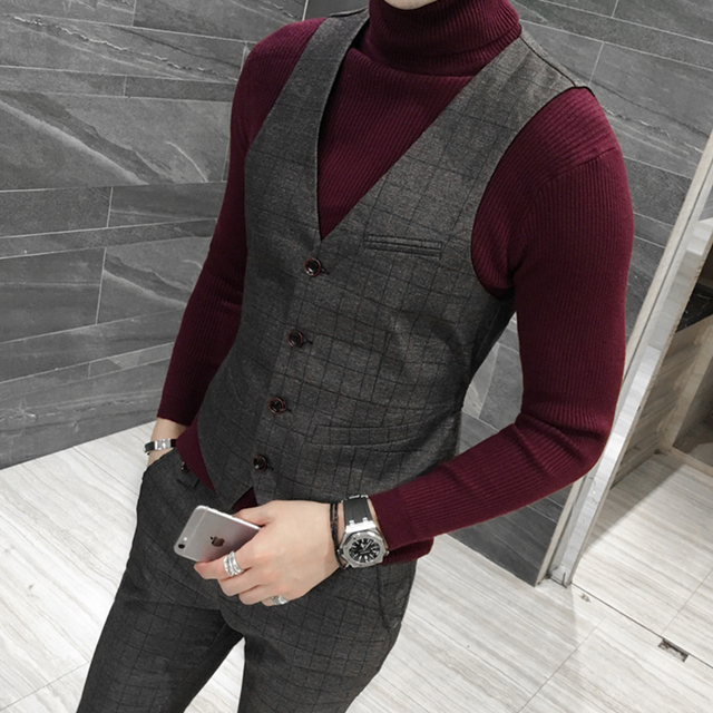 Top Quality Vest Men Fashion Autumn New Men Business Formal Wear Vest Plus Size Slim Fit Plaid Waistcoat Male Dress Suit Vest