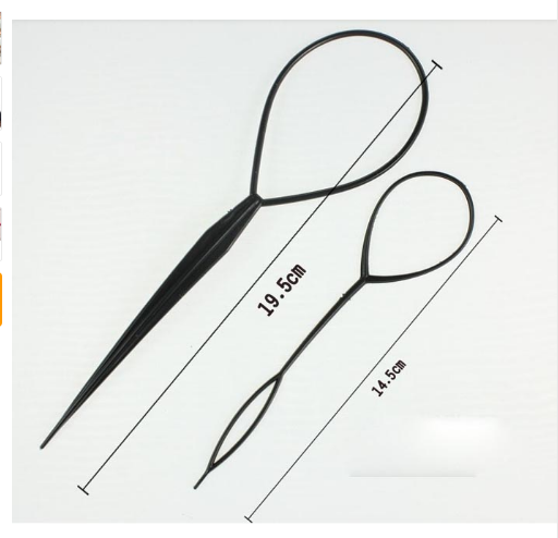 2 Sets Ponytail Styling Maker Clip Tool Nylon Plastic Magic Hair Braid  Black