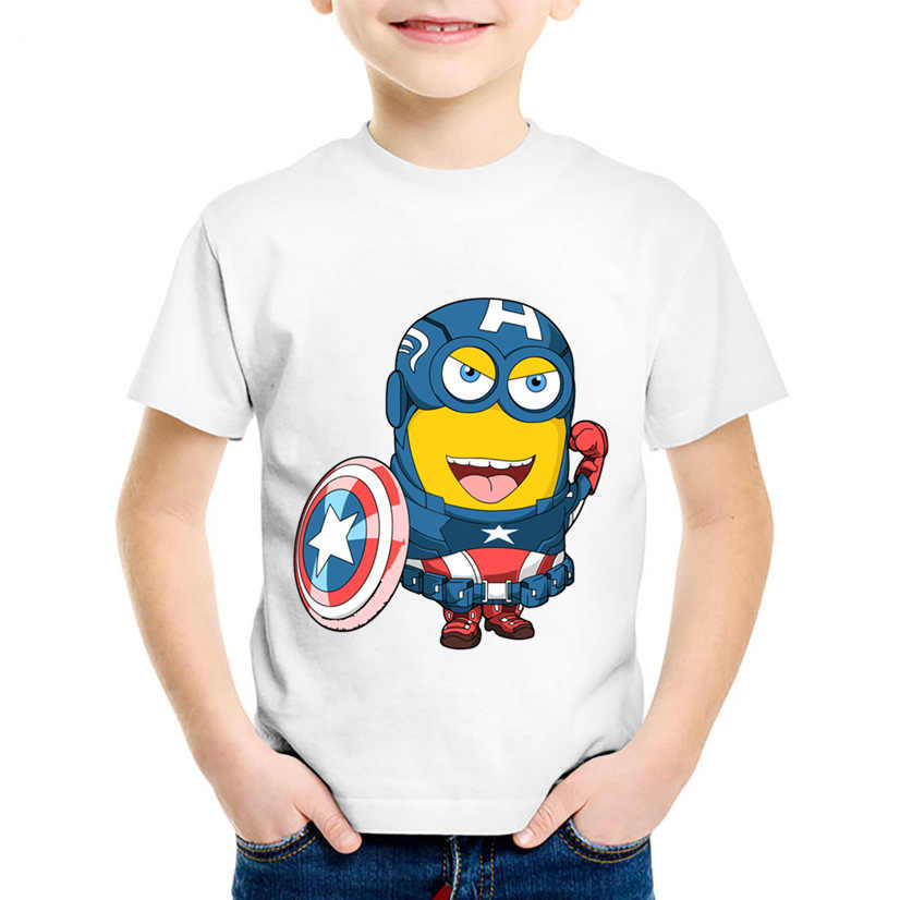 7abac0ae5 Children T shirt Minion Cosplay Batman/Pikachu/Deadpool T shirt Summer  Cartoon Kids Clothes