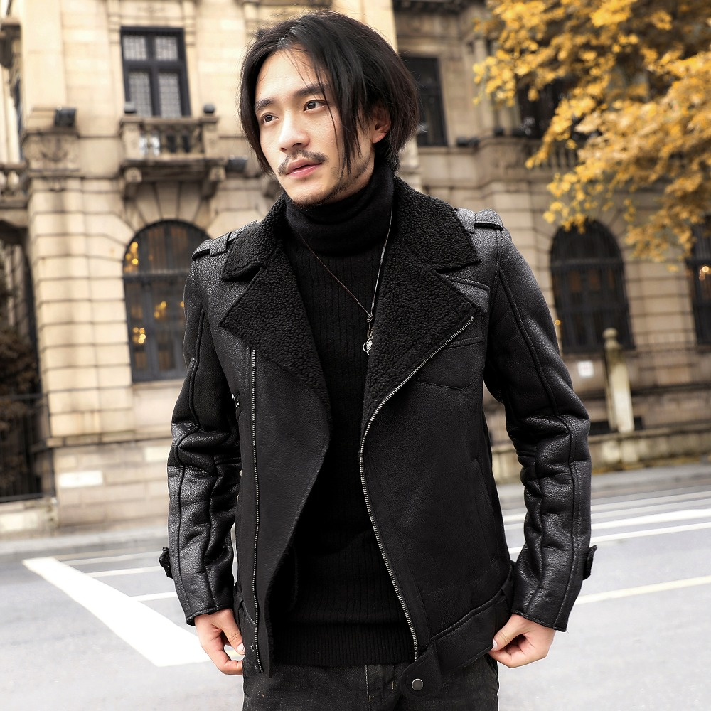 2018 autumn and winter clothing new male Korean fashion slim thick suede lamb hair short motorcycle leather jacket