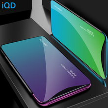 IQD Cover For OPPO Find X R17 F11 Pro Case Tempered Glass Gradient Soft TPU Bumper for Oppo R19 R15X Protective Phone