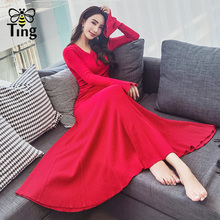 Tingfly 2018 New Arrivals Vintage Elegant Knitting Maxi Dress Women Slim  Winter Autumn Knitted Long Party 05aac522c8f1