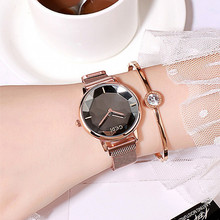 купить New Luxury Fashion Women Watches Women Magnet Buckle Dress Watch Women Stainless Steel Quartz Watch Clock Woman horloges vrouwen дешево