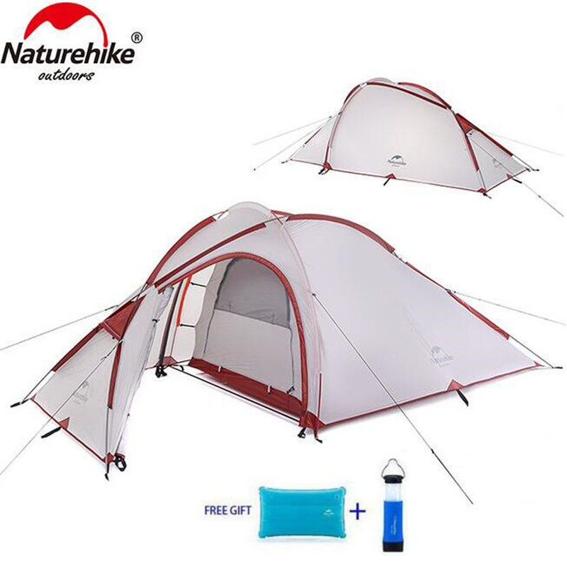 Naturehike 3 Person Camping Tent 210T Fabric Waterproof Double-Layer One Bedroom 3 Season Aluminum Rod Outdoor Tent good quality flytop double layer 2 person 4 season aluminum rod outdoor camping tent topwind 2 plus with snow skirt