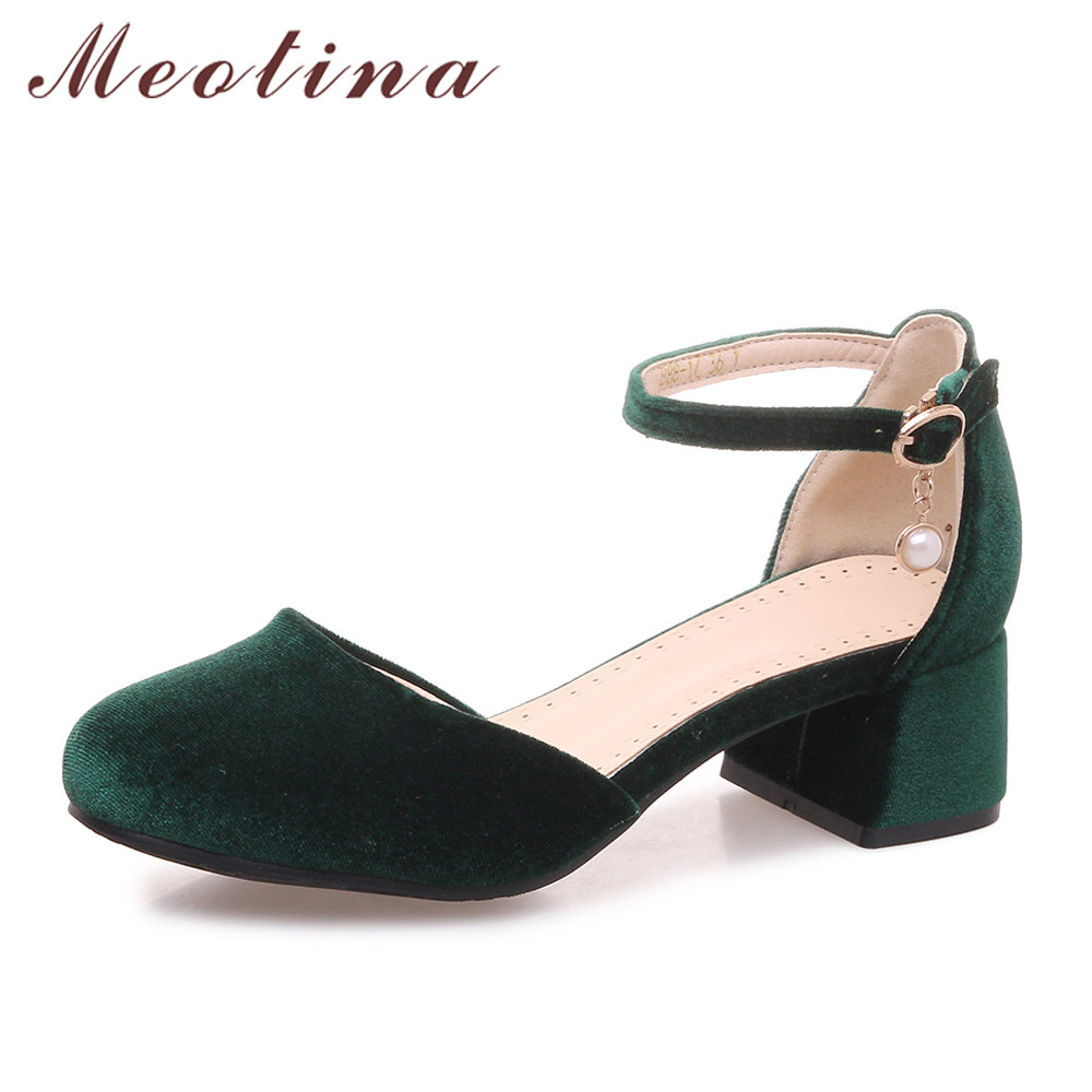 Meotina Women Pumps Med High Heels Velvet Shoes Block Heel Ankle Strap Pearl Party Shoes Green 2018 Spring New Big Size 11 33-46