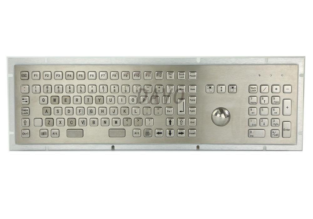 Metaal Medisch Toetsenbord met 103 Sleutels Marine Militair Medisch Rangtoetsenbord Trackball Industrieel Toetsenbord Spaans Toetsenbord