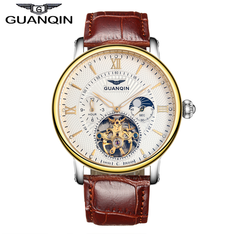 GUANQIN GJ16036 New Mens Luxury Watches Top Brand Watch Luminous Leather Clock Men Tourbillon Automatic Mechanical Wristwatch new guanqin mens watches top brand luxury tourbillon skeleton men sport leather strap waterproof automatic mechanical wristwatch
