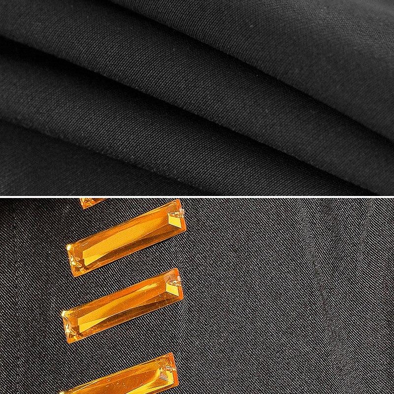 Conjunto negro de chaleco de cristales brillantes para hombre, traje de club nocturno, Bar, cantante, Rock, Hip hop, traje de escenario Punk Performance, conjuntos de 3 piezas - 6