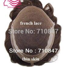Швейцарское кружево/французское кружево с кожей(ПУ) сбоку и сзади, Q6 базовый запас волос мужской парик, система волос, replaceme