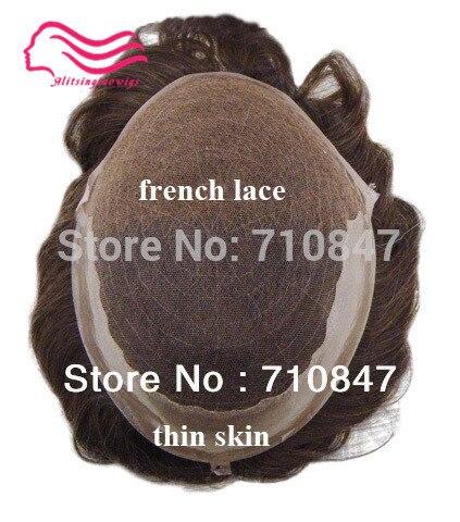 Cordón suizo/francés laceh con la piel (PU) lateral y posterior, q6 base stock hombres pelo peluquín, sistema del pelo, replaceme envío libre