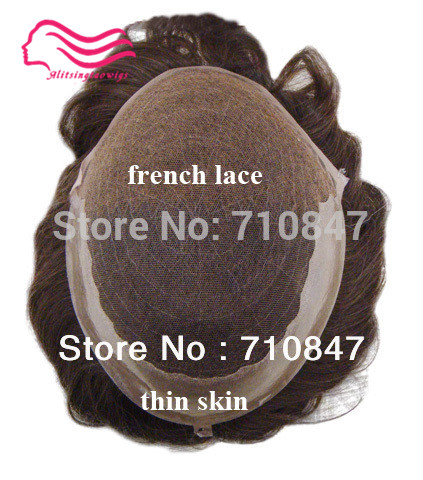 hair System Side And Back Q6 Base Stock Hair Men Toupee Replaceme Free Shipping Elegant Appearance pu Straightforward Swiss Lace / French Laceh With Skin