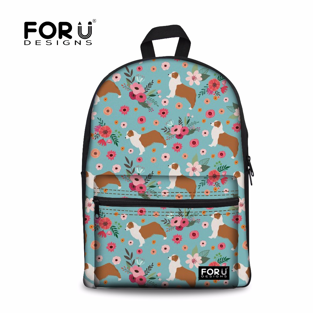 FORUDESIGNS Australian Shepard Pattern Women School Backpack For Girls Kids Back to School Bags Children Schoolbag Satchel Cute