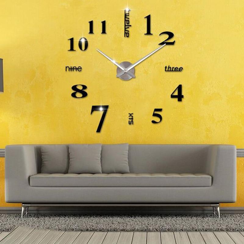 DIY Wall Clock 3D Mirror Surface Sticker Home Decoration Acrylic ...
