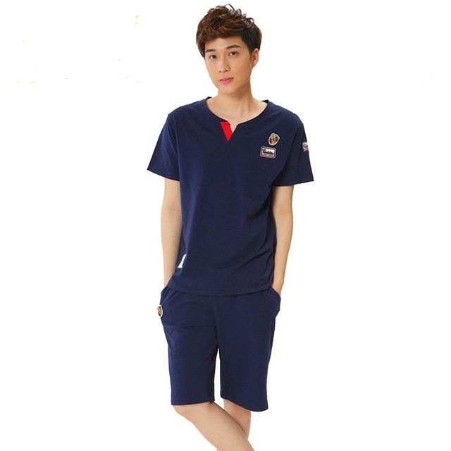 Korean Summer New Men's Comfortable Stylish Short-sleeved Cotton Pajamas Men's Tracksuit As Outerwear MJSUQJ6283