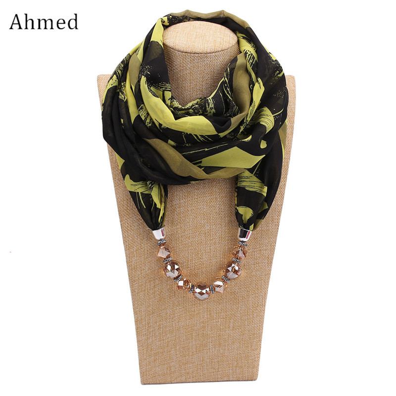 Ahmed Fashion Printed Chiffon Statement Beads Scarf Necklace for Women New Design Bohemian Head Scarves Collar Jewelry spike tassel scarf necklace pendants scarves autumn women necklace scarf charm bohemian jewelry gift