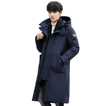 цены на 2019 Winter Down Jacket Men Fashion Thick Warm Long Jackets Parkas Mens Hooded Jacket Autumn Winter Trench Coat Male Clothes  в интернет-магазинах