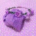 150*100 cm Lavender Backdrop Fotografia + Cheesecloth Envoltório Do Bebê Recém-nascido + Headband Fotografia Prop Cobertor Presente Do Chuveiro