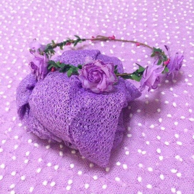 150*100cm Lavender Newborn Baby Photography Backdrop Background+Cheesecloth Wrap+Headband Fotografia Blanket Prop Shower Gift