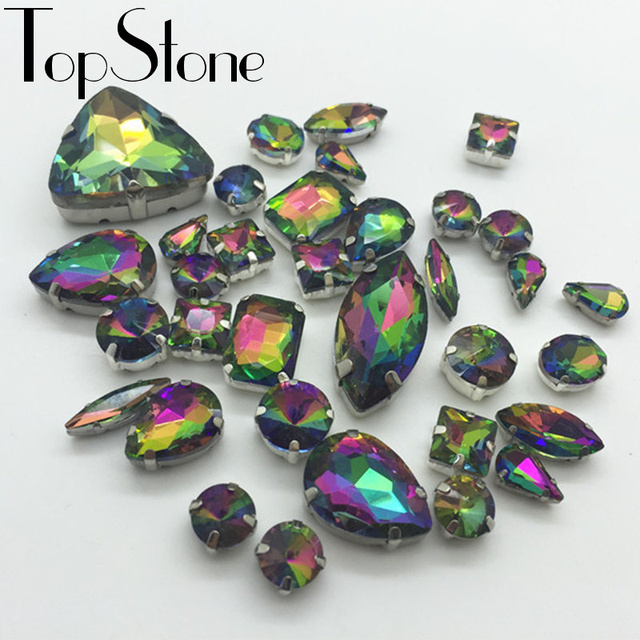 All Shapes Sizes Rainbow Color Sew On Rhinestones Sewing Glass Crystal  Stones In Metal Claw 4 93632c8cca9b