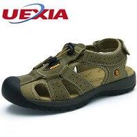 Mode Zomer Ademend Schoenen Voelen Cool Soft Hard-Vouw Outdoor Casual Sandalen Lederen Zapatos Koeienhuid Sandalias Hombre