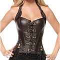 AA2225 Plus Size Corset Waist slim Buckle-up Steampunk Fashion Leather Corset 1 Corset + 1 G string 2016 Hot Corset Overbust