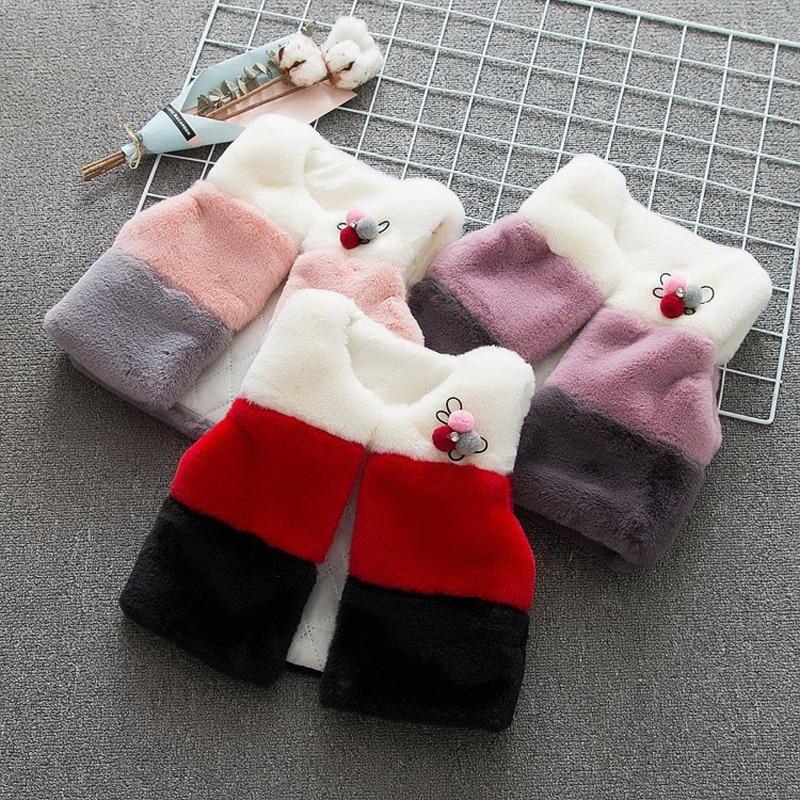 Coat Jacket Baby-Girls Outwear Fur Vest Fashion for Warm Thicken Fox-Fur Kids Children's