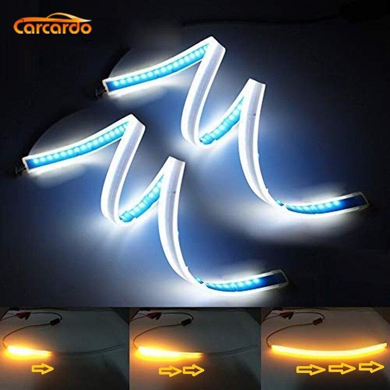 Carcardo Carro DRL LED Daytime Running Luz Do Carro Flexível LED Âmbar Turno Luz Fluindo Silm Daytime Farol Do Carro Lâmpada
