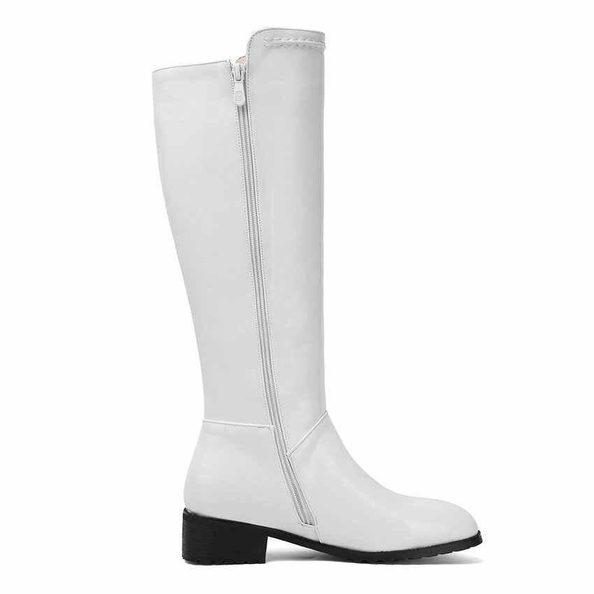 QUTAA 2020 Yeni Sonbahar Kış Moda Yuvarlak Ayak Fermuar Kadın Uzun Çizmeler PU Deri Kare Topuk Muhtasar Diz Yüksek Çizmeler boyutu 34-43