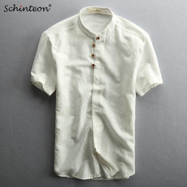 225e9c46c Comfortable Traditional Chinese Mandarin Collar Shirt Short Sleeve Vintage  Slim Cotton Linen for Men Navy Blue White Dark Grey