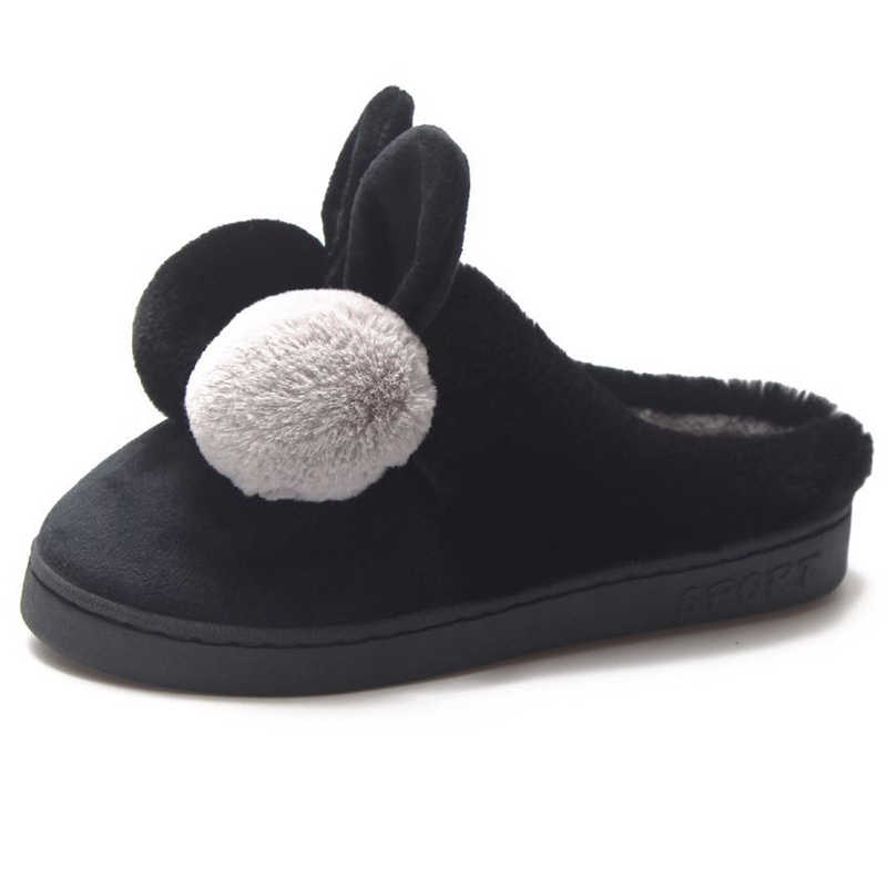 ebdedf9bc ... HEE GRAND/женские милые кукольные тапочки с ушками, мягкая теплая обувь  из искусственного меха ...