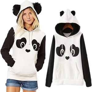 Image 4 - パンダのパターンの女性パーカー暖かい秋冬スウェットロングスリーおしゃれかわいいふわふわ帽子