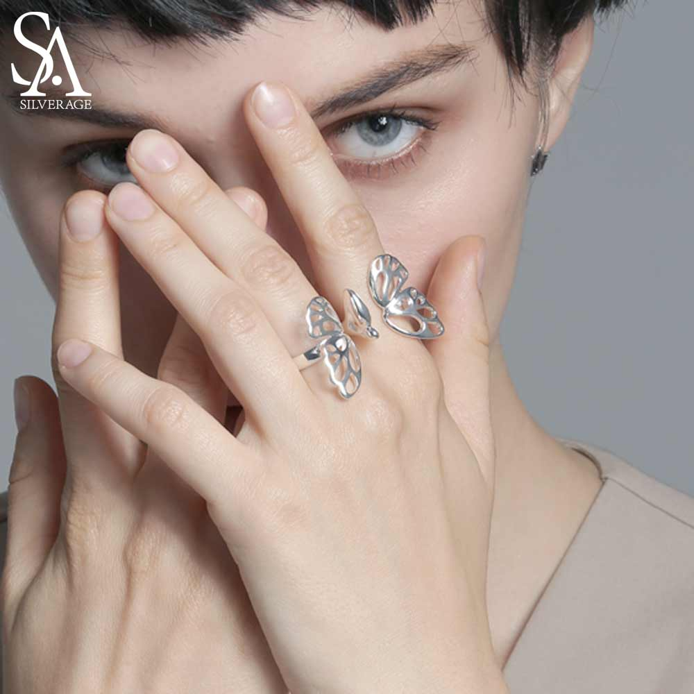 SA SILVERAGE Adjustable 925 Sterling Silver Rings Sets For Women Fine Jewelry Fashion Weddings Butterfly Double Rings SA SILVERAGE Adjustable 925 Sterling Silver Rings Sets For Women Fine Jewelry Fashion Weddings Butterfly Double Rings