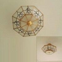 Американский стиль стекло зонтик led Потолочные светильники приспособление Медь светильник современный блеск e14 лампы Потолочные Гостиная