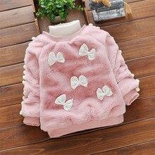BibiCola/Одежда для маленьких девочек, Костюмы Детский свитер с воротником под горло из плотного бархата; пуловер для малышей; свитер Повседневное пальто для девочек верхняя одежда для детей